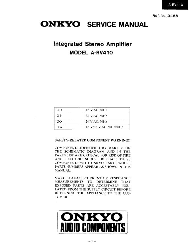 安桥Onkyo A-RV410 功放电路图