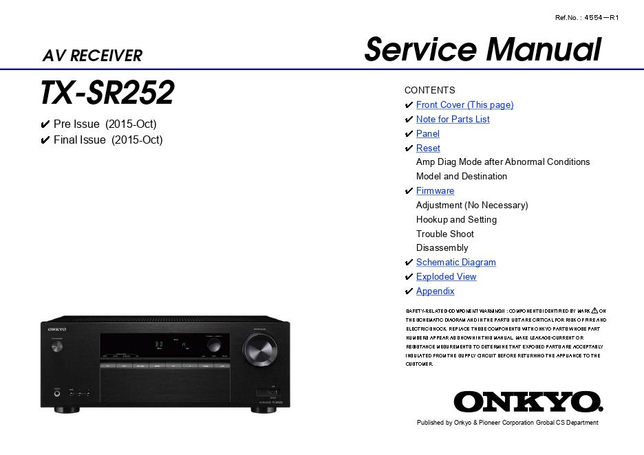 ONKYO安桥TX-SR252功放维修手册