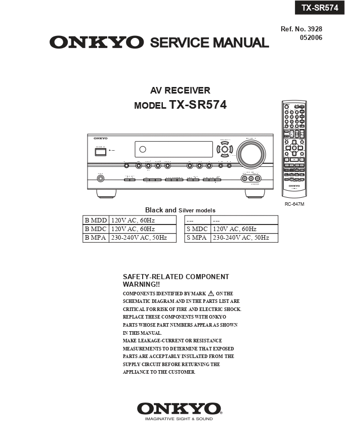 ONKYO安桥TX-SR574功放维修手册