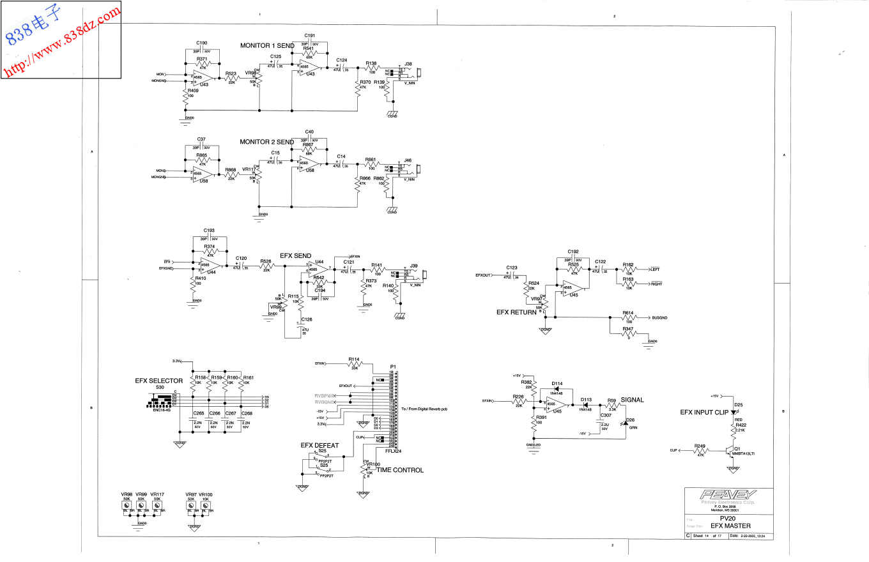 PEAVEY百威 PV20-USB 20路带效果调音台电路图