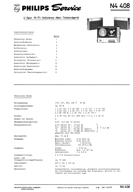 PHILIPS飞利浦N4408开盘机维修手册