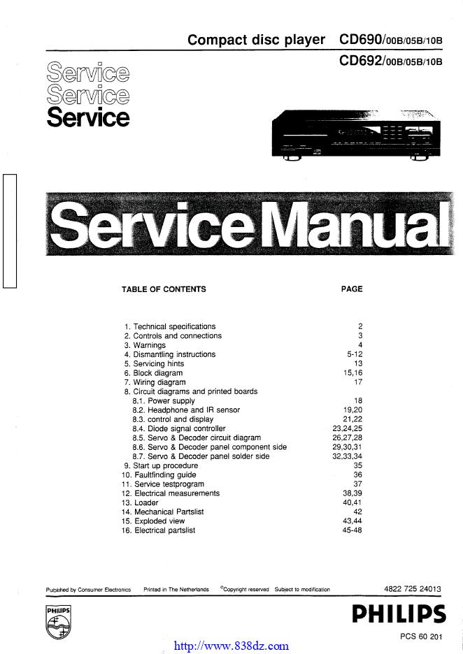 Philips飞利浦 CD692 CD机维修手册