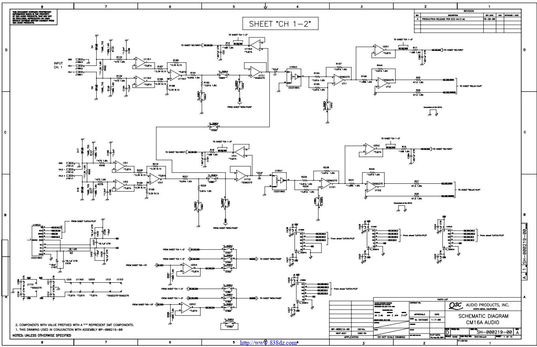 QSC CM16A功放网络监控器电路图