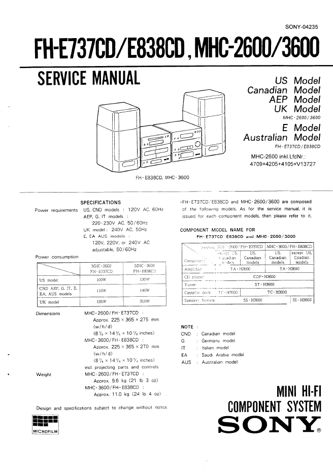 SONY索尼FH-E737CD FH-E838CD MHC-2600 MHC-3600 TA-H2600 ST-H2600 CDP-H3600 TC-H2600 TC-H3600组合音响维修手册