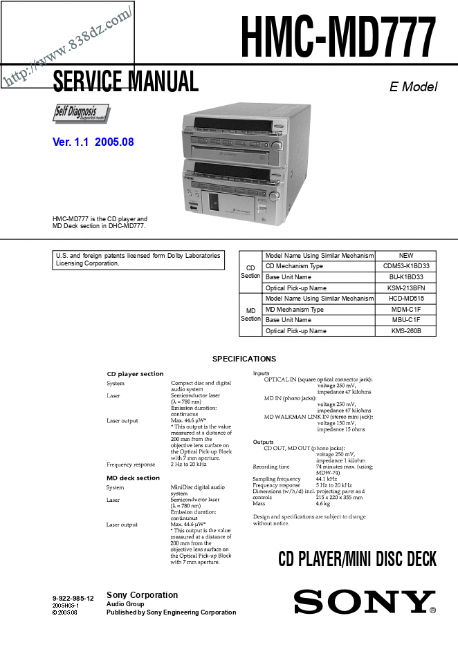 SONY索尼 HMC-MD777组合音响维修手册