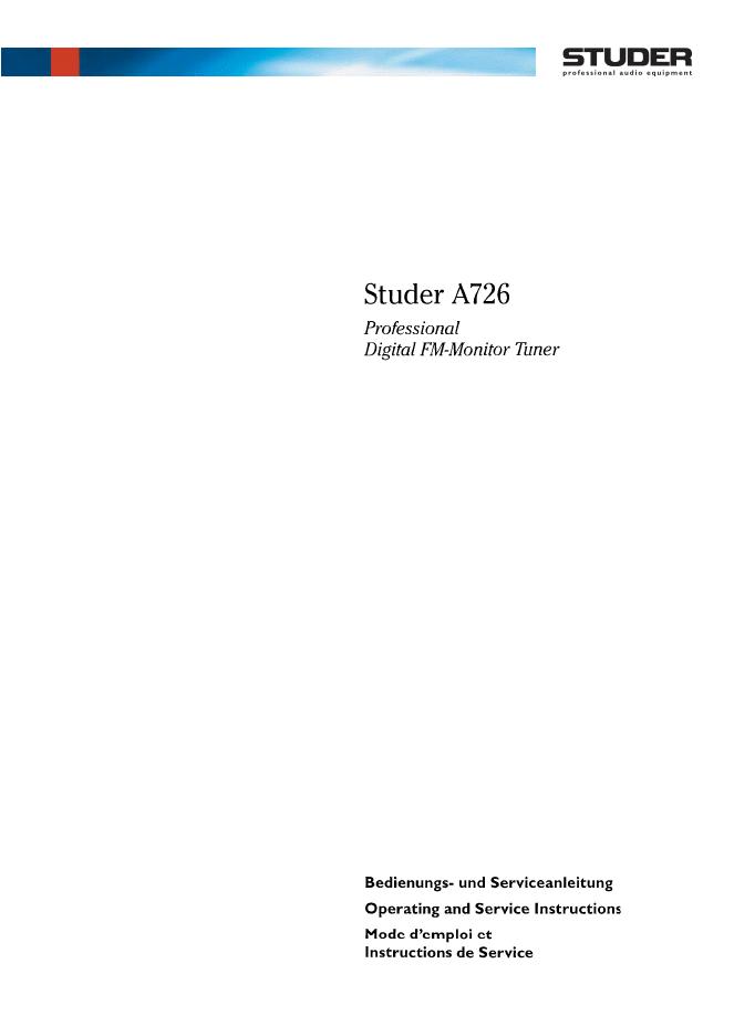 studer瑞华士  A726收音头电路图 维修手册