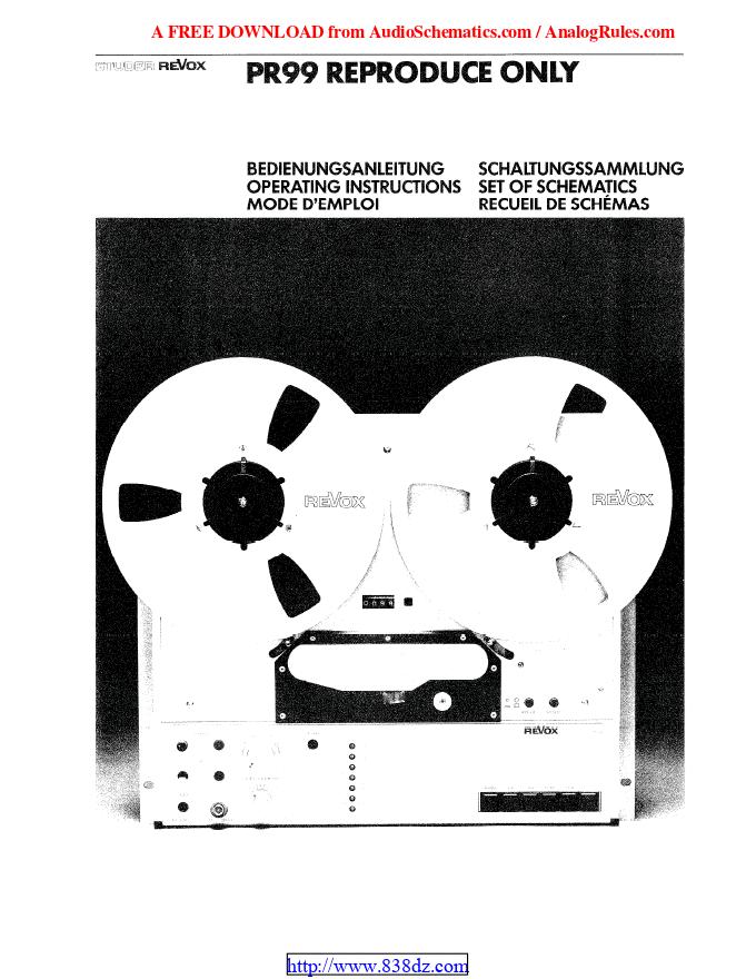 REVOX瑞华士PR99开盘机维修手册