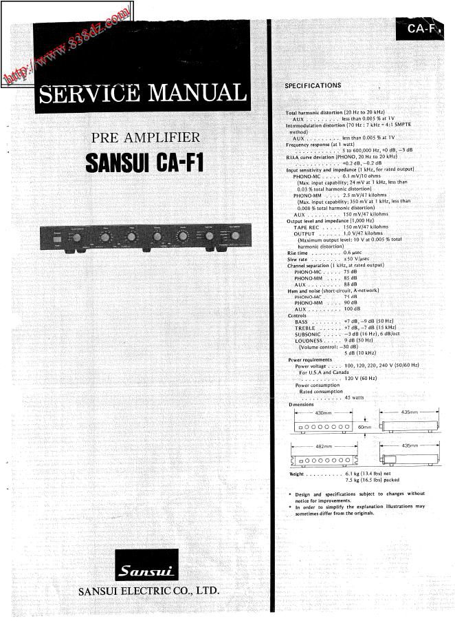 SANSUI山水CA-F1 前级功放音响维修手册