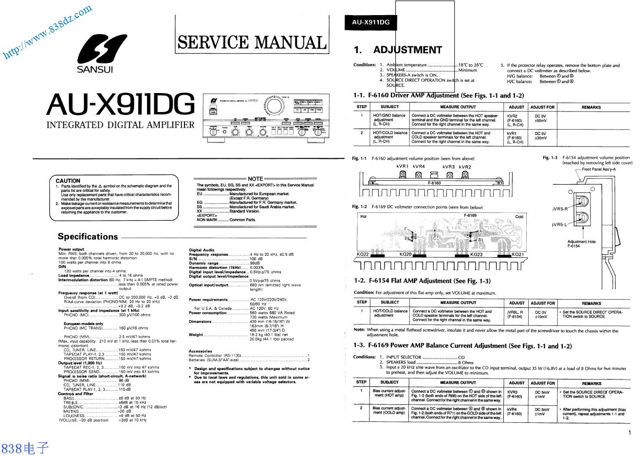 SANSUI山水 AU-X911DG 功放维修手册