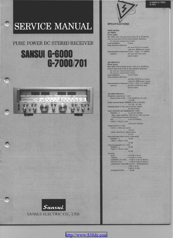 SANSUI山水 G6000功放维修手册