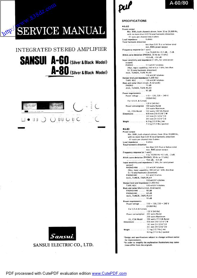 SANSUI山水 A-80 A-60 功放电路图