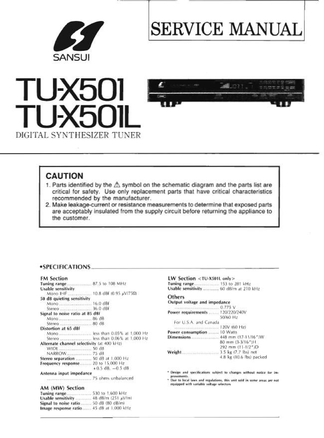 SANSUI山水TU-X501收音头维修手册