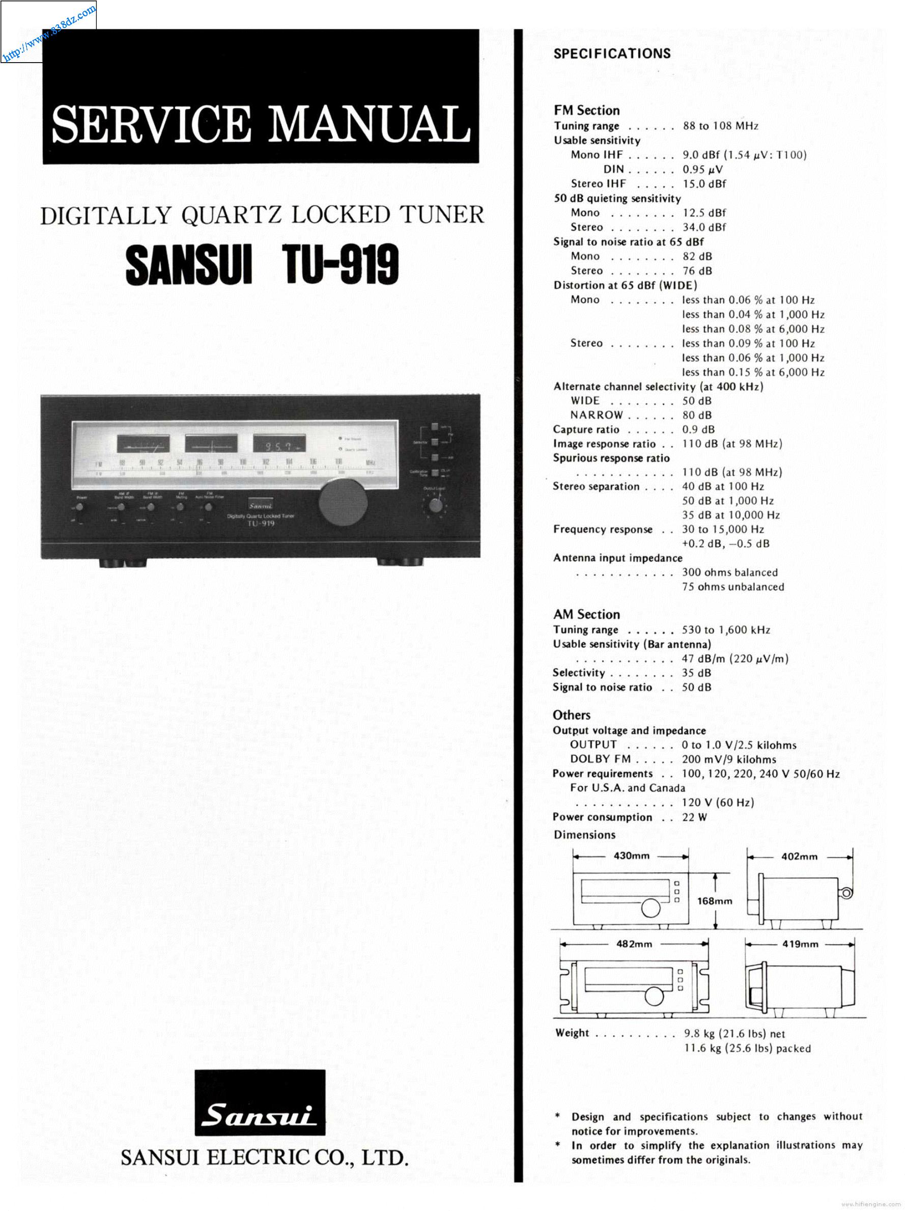 sansui山水TU-919收音头 维修手册