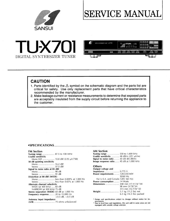 sansui山水TU-X701 TU-X711收音头 维修手册