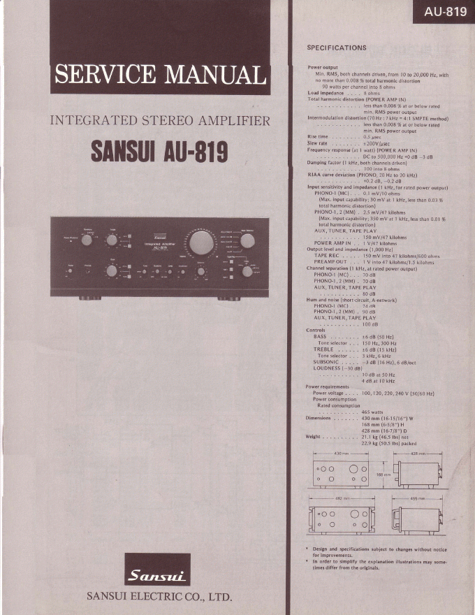 SANSUI山水 AU-819功放维修手册