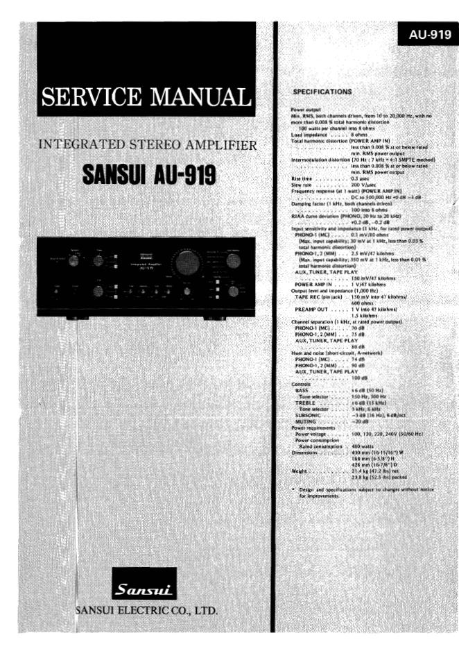 Sansui山水 AU-919功放维修电路图