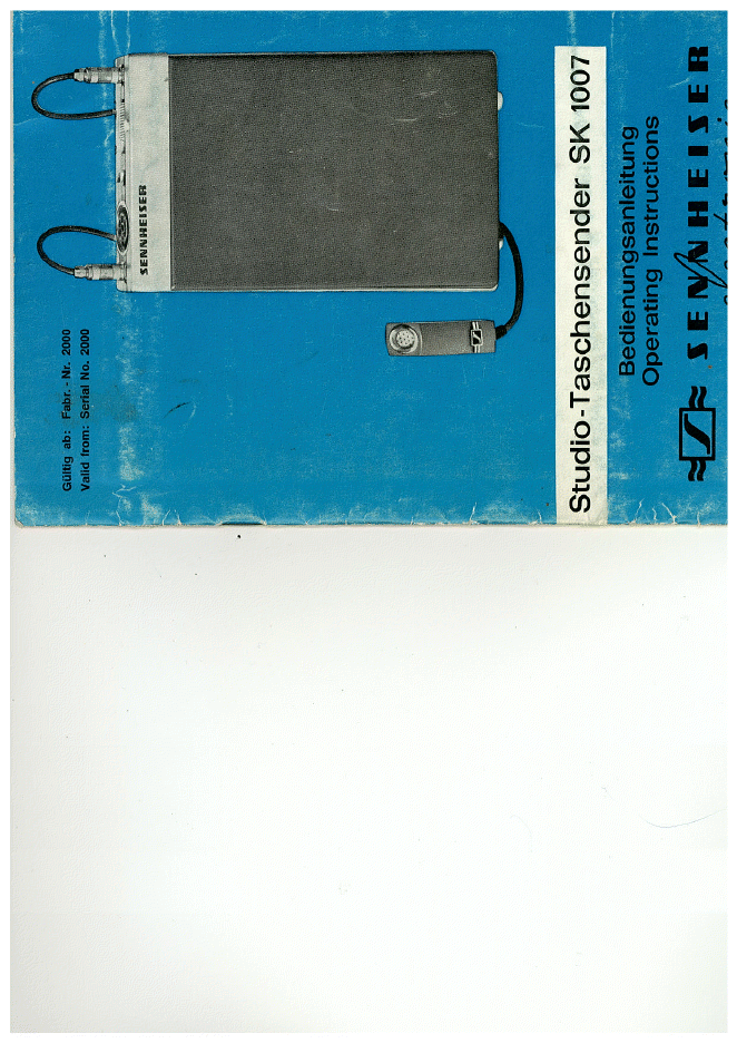 sennheiser森海塞尔 SK1007 无线系统 维修手册