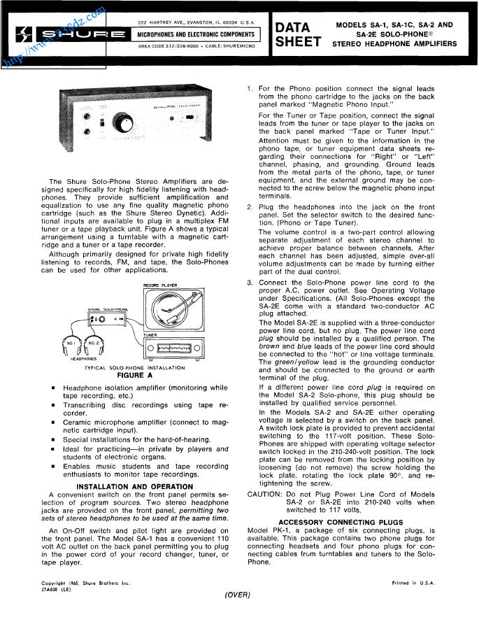SHURE 舒尔 SA-2立体声耳机放大器维修图纸