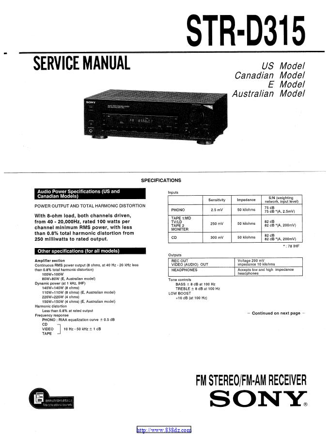 索尼SONY STR-D315功放维修手册