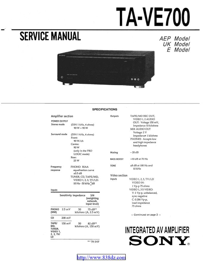 Sony索尼TA-VE700 功放维修手册