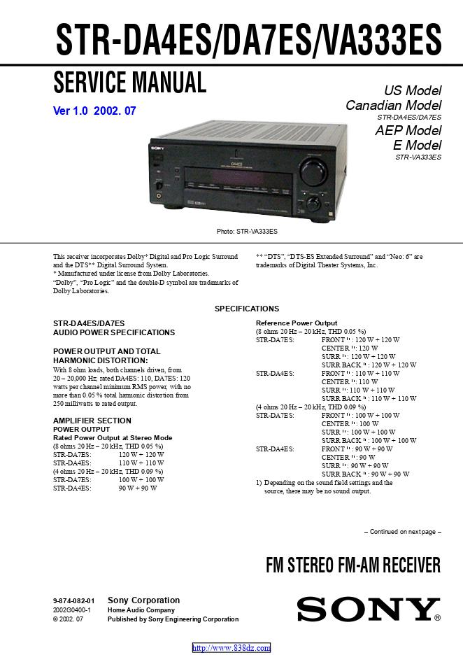 索尼Sony STR-DA7ES功放维修手册