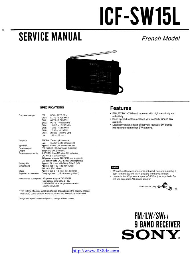 Sony-索尼 ICF-SW15L 收音机维修手册