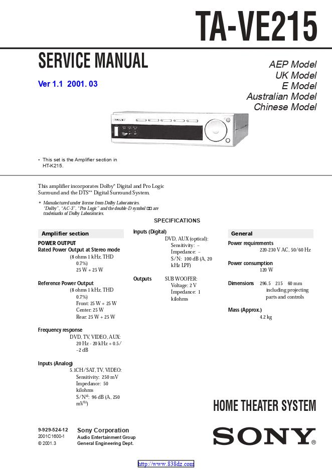 Sony索尼 TA-VE215 功放维修手册