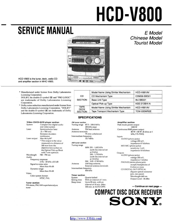 SONY索尼 HCD-V800组合音响维修图纸