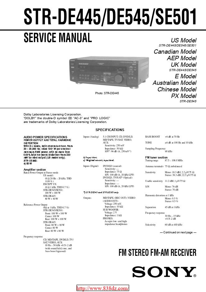 Sony索尼STR-DE445功放维修手册