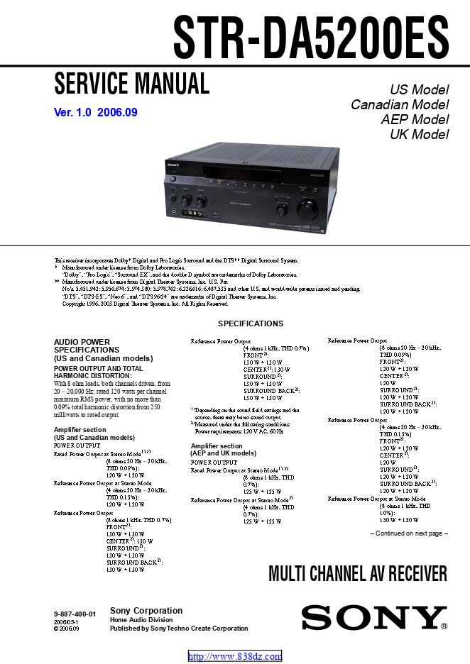 Sony 索尼 STR-DA5200ES功放维修手册