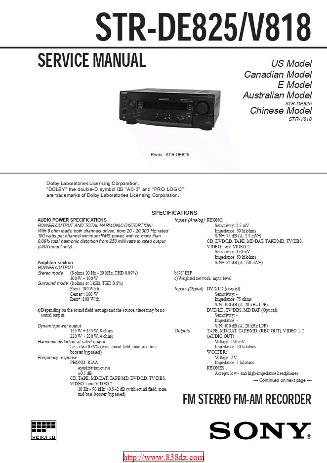 Sony索尼STR-DE825功放维修手册