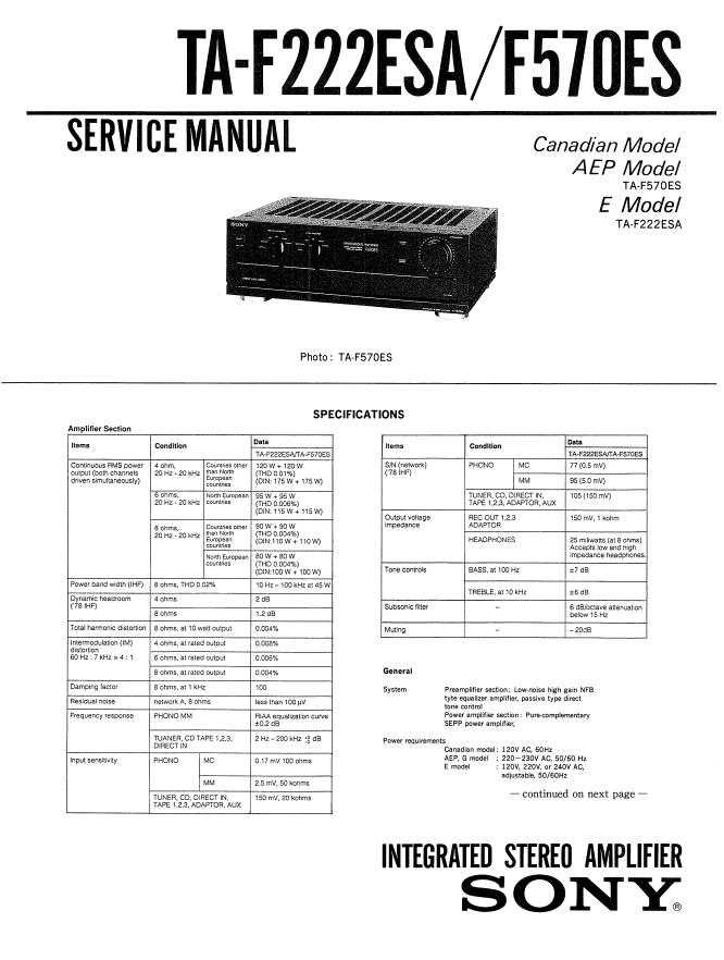 Sony索尼TA-F222ESA功放维修手册