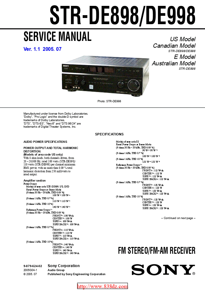 Sony索尼STR-DE898 功放维修手册