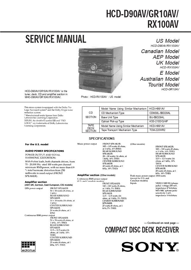 SONY-索尼HCD-D90AV/GR10AV/RX100AV组合音响维修手册