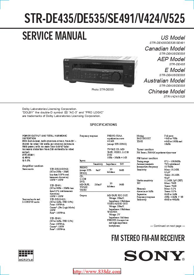 Sony索尼STR-SE491功放维修手册