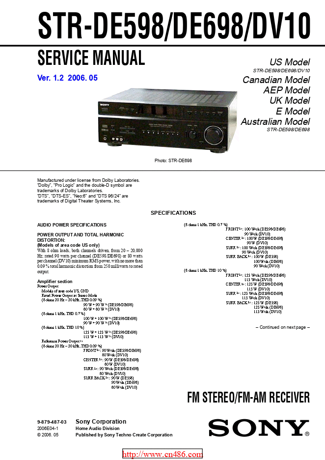 Sony索尼STR-DE698功放维修手册