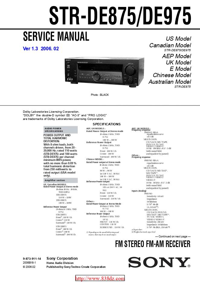 Sony-索尼STR-DE875功放机维修手册