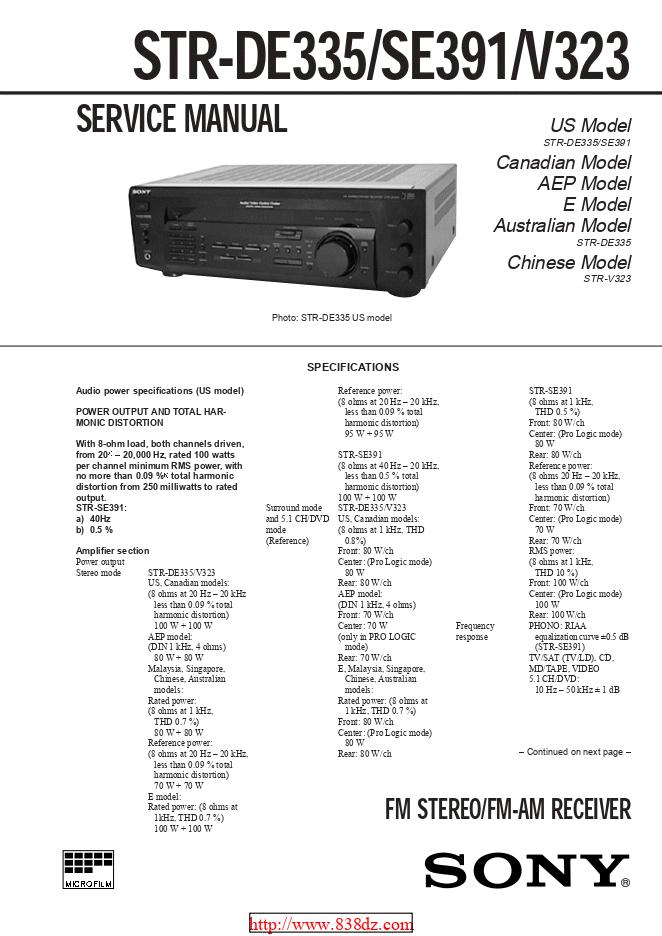 Sony索尼STR-DE335功放维修手册