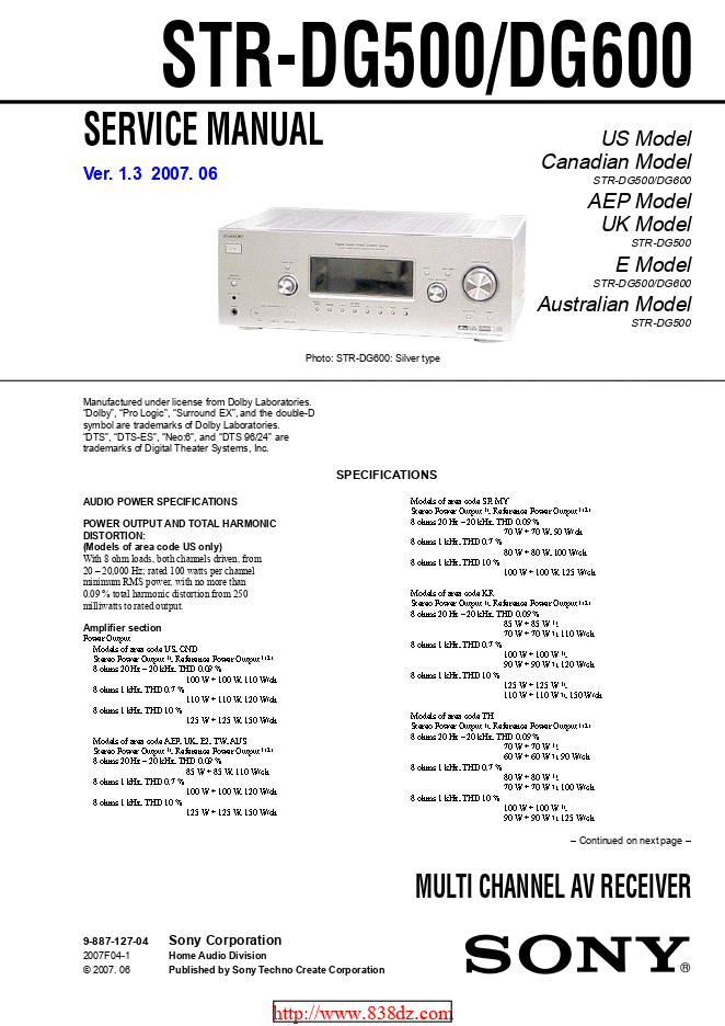 Sony索尼STR-DG600功放维修手册