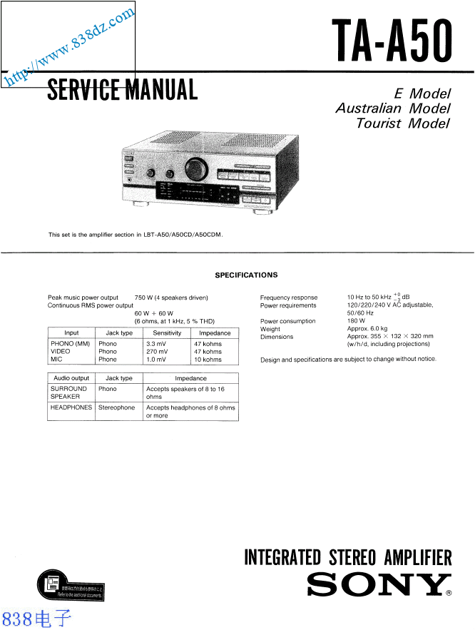 SONY索尼TA-A50功放维修手册