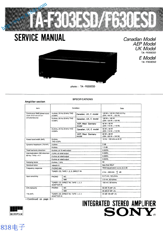 SONY索尼TA-F303ESD F630ESD功放维修手册