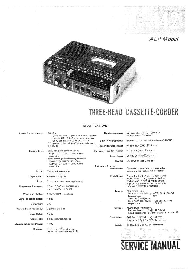 SONY索尼TC-142录音机维修手册