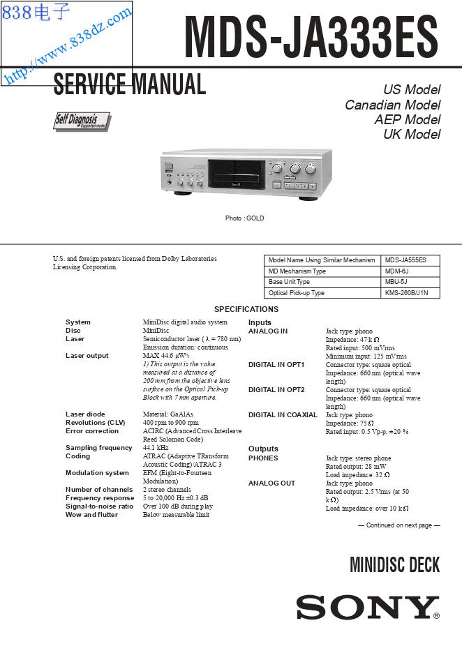 SONY索尼 MDS-JA333ES MD机维修手册
