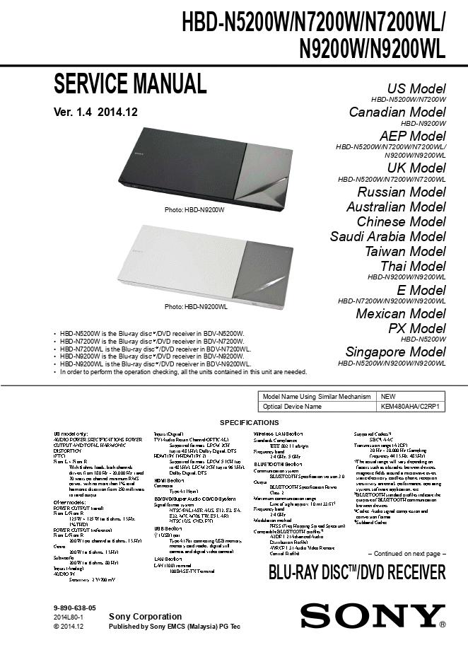 SONY索尼HBD-N5200W HBD-N7200W HBD-N7200WL HBD-N9200W HBD-N9200WL家庭影院系统维修手册