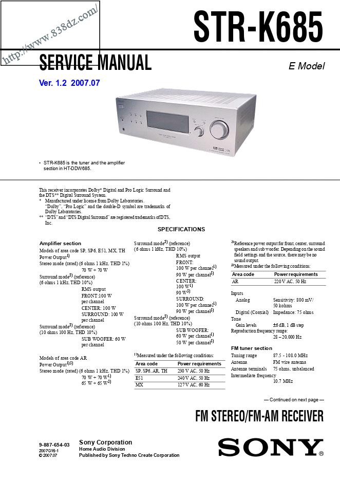 SONY索尼STR-K685功放维修手册