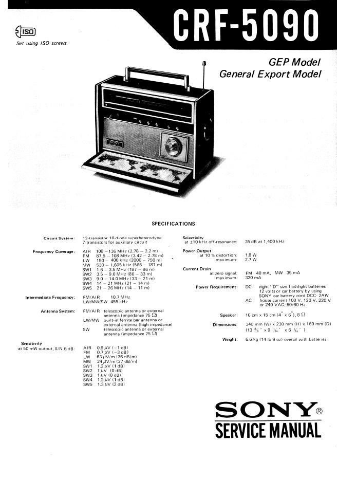 SONY索尼CRF-5090 九波段收音机维修手册