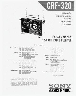SONY索尼CRF 320 全波段晶体管收音机维修手册