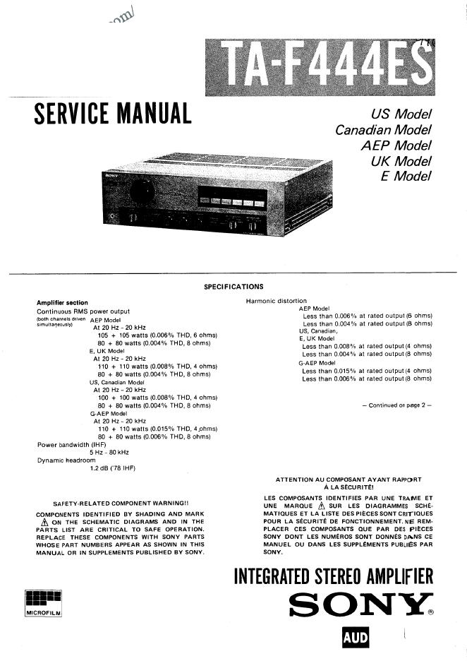 Sony-索尼-TA-F444ES音响功放维修手册