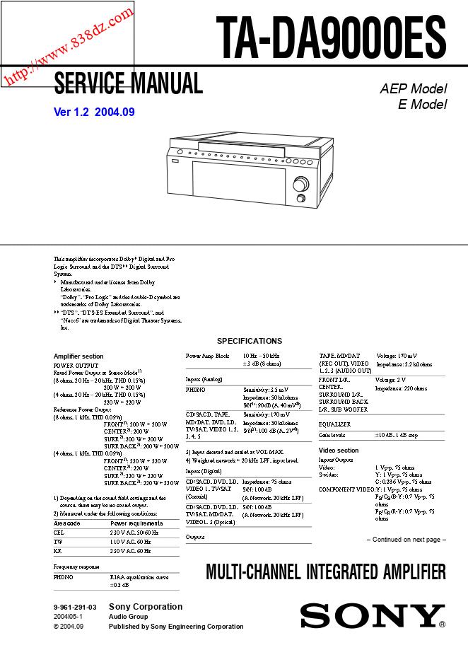 索尼SONY TA-DA9000ES家庭影院功放维修手册