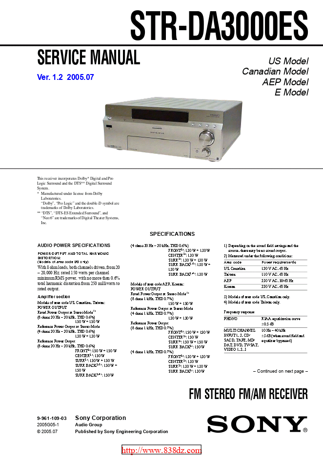 Sony-索尼STR-DA3000ES功放机维修手册
